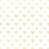 在白色和米黄的心脏重复无缝的样式 库存图片