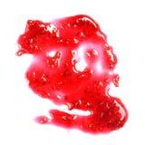 在白色和线隔绝的山莓果酱斑点 库存图片
