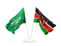 在白色和肯尼亚的隔绝的两面挥动的旗子沙特阿拉伯 库存例证