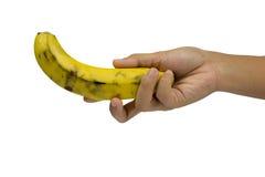 在白色和背景在手边隔绝的香蕉 库存图片