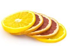 在白色和葡萄柚隔绝的切片桔子 免版税库存照片