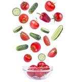 在白色和蕃茄隔绝的黄瓜、胡椒 库存图片