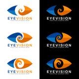 在白色和黑背景传染媒介艺术设计的蓝色和橙色眼睛视觉商标标志 皇族释放例证