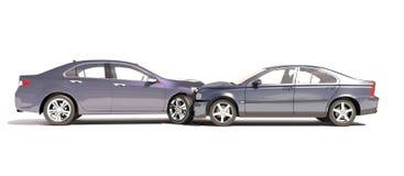 在白色在事故的两辆汽车隔绝的 库存图片