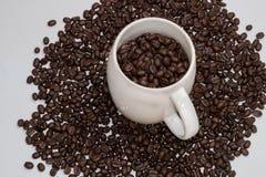 在白色在咖啡杯顶视图的咖啡豆隔绝的 免版税库存照片