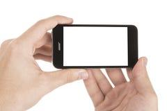 在白色在手中隔绝的现代智能手机 免版税图库摄影