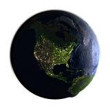 在白色在晚上隔绝的地球上的北美 库存图片