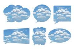 在白色在泡影讲话形状的美丽的天空隔绝的 免版税库存图片