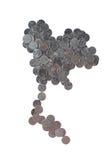 在白色在泰国地图形状的泰铢硬币隔绝的 免版税库存照片