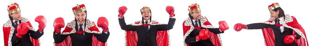 在白色在滑稽的概念的国王商人隔绝的 免版税库存照片