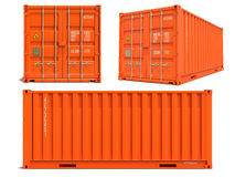在白色在3D的橙色容器隔绝的 库存图片