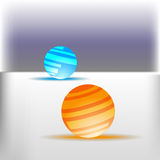 在白色地板背景的霓虹球 免版税库存照片