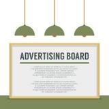在白色墙壁上的空白的广告广告牌 图库摄影