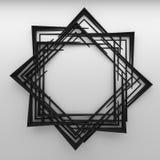 在白色墙壁上的空白的抽象框架 库存图片