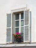 在白色墙壁上的窗口有花的 免版税库存照片