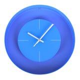 在白色墙壁上的蓝色经典时钟 免版税图库摄影