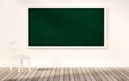 在白色墙壁上的绿色黑板,有在木地板上的白色椅子的,被回报的3d 免版税库存图片