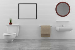 在白色墙壁的洗手间设计和有嘲笑的具体室在3D翻译的照片框架 库存照片