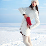 在白色外套的时兴的模型在冬天海附近 库存图片