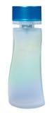 在白色女性香水隔绝的玻璃瓶 免版税库存照片