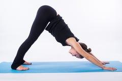 在白色实践瑜伽asana adhomukha svanasana -向下的狗姿势隔绝的美丽的运动的适合yogini妇女 免版税库存图片