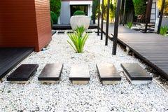 在白色小卵石和豪华的绿色树的庭院道路 库存照片