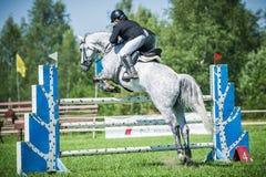 在白色展示套头衫马的车手在跳在背景蓝天的展示的竞技场克服高障碍 图库摄影
