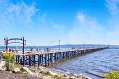 在白色岩石,不列颠哥伦比亚省,加拿大的历史的码头 库存照片