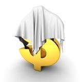 在白色布料下的金黄美元货币符号 免版税库存照片