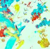 在白色帆布,五颜六色的抽象背景的抽象油漆纹理 免版税库存图片