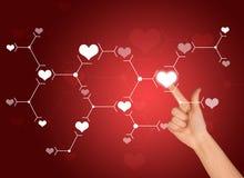在白色心脏标志的食指新闻 连接数 向量例证