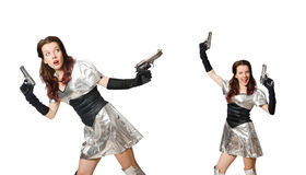 在白色技术概念的妇女隔绝的 免版税库存图片