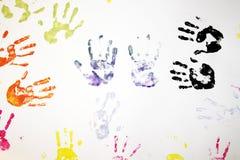 孩子手印刷品 库存照片