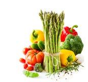 在白色拷贝隔绝的新鲜蔬菜间隔背景 免版税库存照片