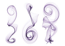 在白色摘要隔绝的套紫色烟波浪曲线 免版税库存照片