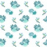 在白色无缝的样式的蓝色雏菊 免版税图库摄影