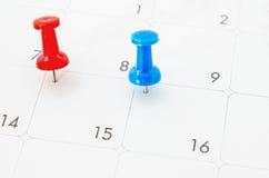 在白色日历的红色和蓝色别针 免版税库存图片