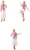 在白色时尚看起来的妇女隔绝的 库存照片