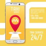 在白色智能手机屏幕上的出租汽车服务app 也corel凹道例证向量 免版税库存照片