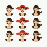 在白色有各种各样的情感和发型的隔绝的帽子的美丽的夫人 缺乏信心,哀伤,愉快的字符 免版税库存图片