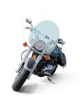 在白色有挡风玻璃正面图隔绝的摩托车 库存照片