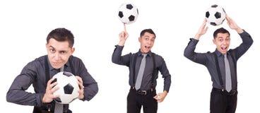 在白色有橄榄球的滑稽的人隔绝的 免版税库存照片