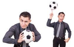 在白色有橄榄球的滑稽的人隔绝的 库存照片