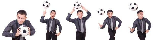 在白色有橄榄球的滑稽的人隔绝的 免版税库存图片