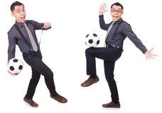 在白色有橄榄球的滑稽的人隔绝的 免版税图库摄影