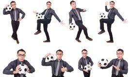 在白色有橄榄球的滑稽的人隔绝的 库存图片