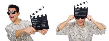 在白色有电影clapperboard的人隔绝的 免版税库存图片