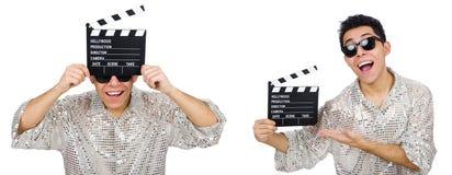 在白色有电影clapperboard的人隔绝的 免版税库存照片