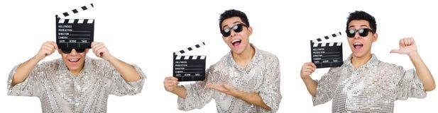 在白色有电影clapperboard的人隔绝的 库存图片
