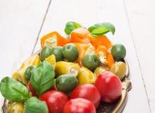 在白色木桌上的五颜六色的开胃小菜混合 免版税库存图片
